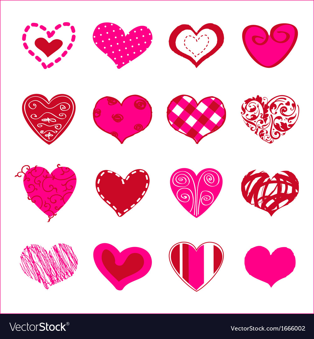 Set of hand drawn hearts for you vector | Price: 1 Credit (USD $1)
