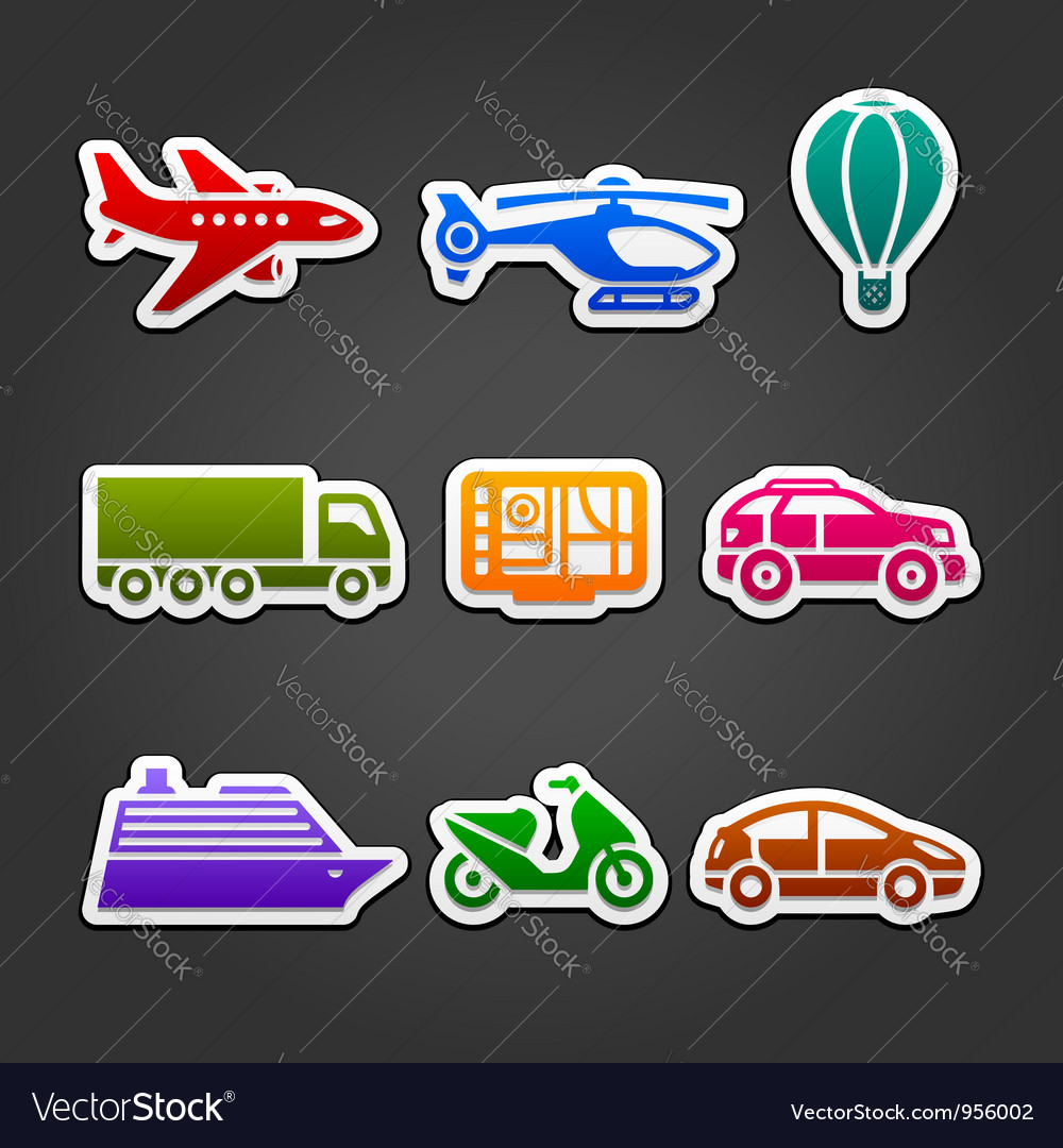 Set stickers color transport vector | Price: 1 Credit (USD $1)