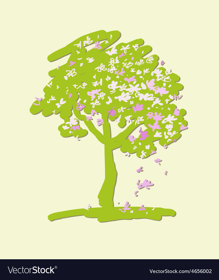 Stylized flowering crabapple tree vector | Price: 1 Credit (USD $1)
