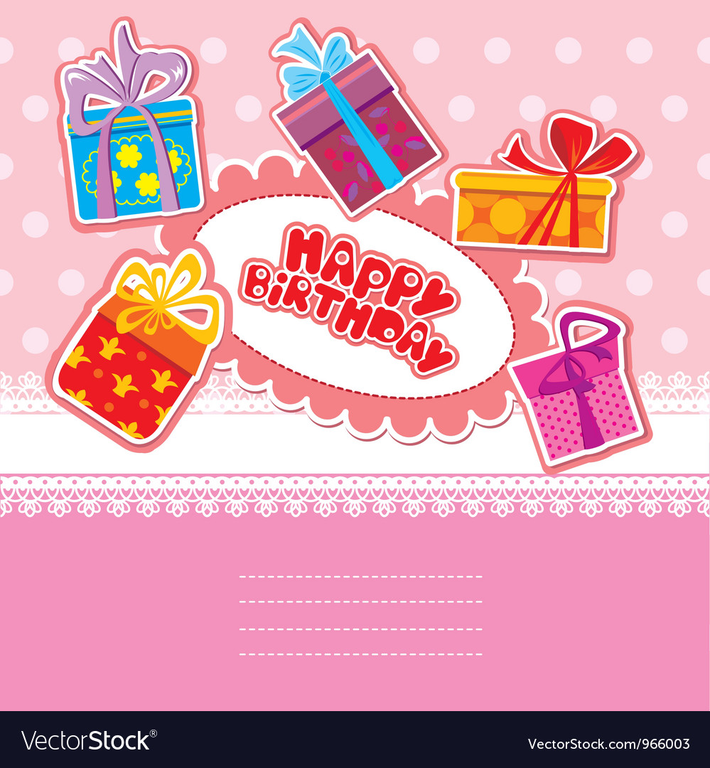 Baby birthday card with gift boxes vector | Price: 1 Credit (USD $1)