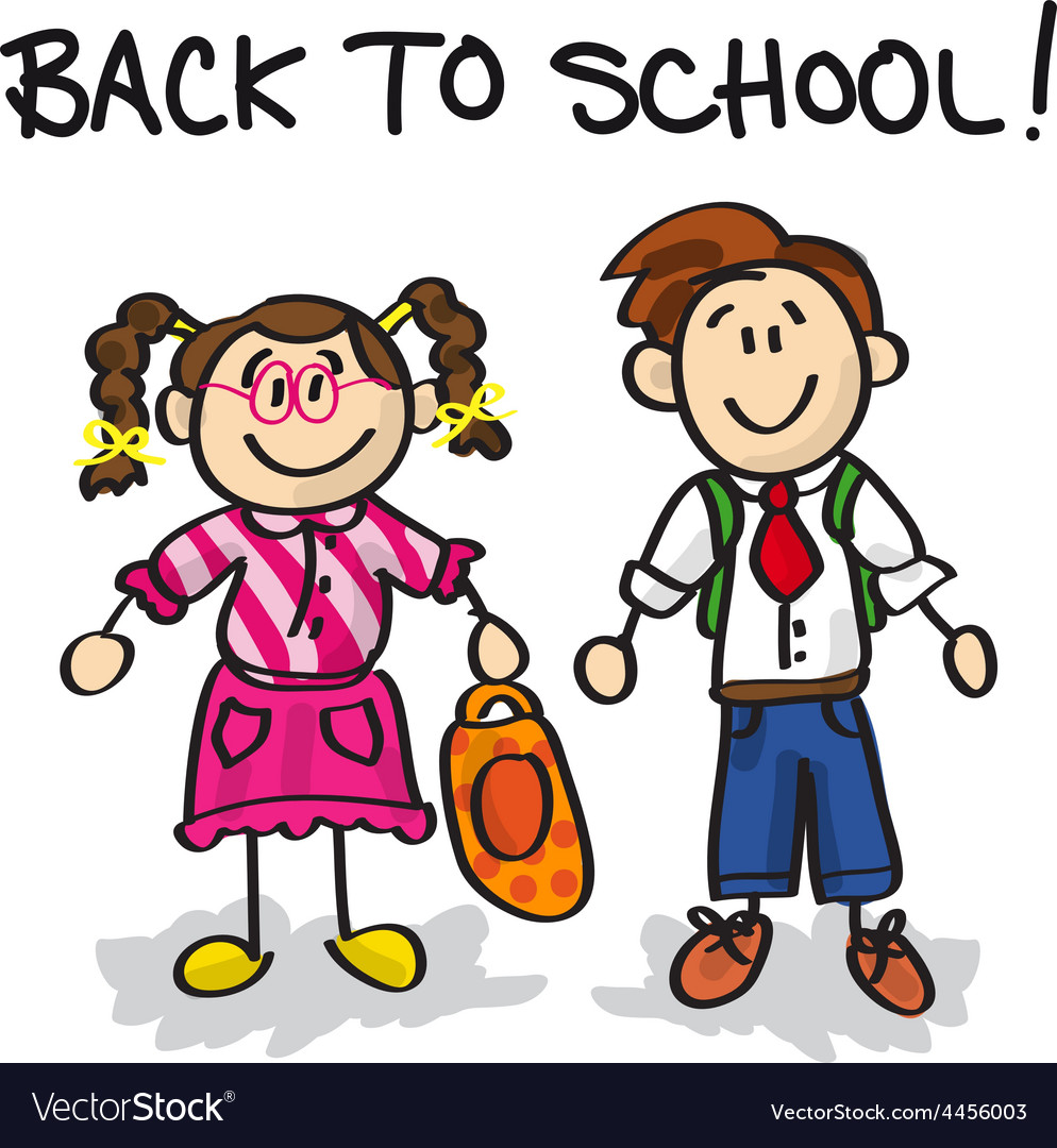 Back to school cartoon characters vector | Price: 1 Credit (USD $1)