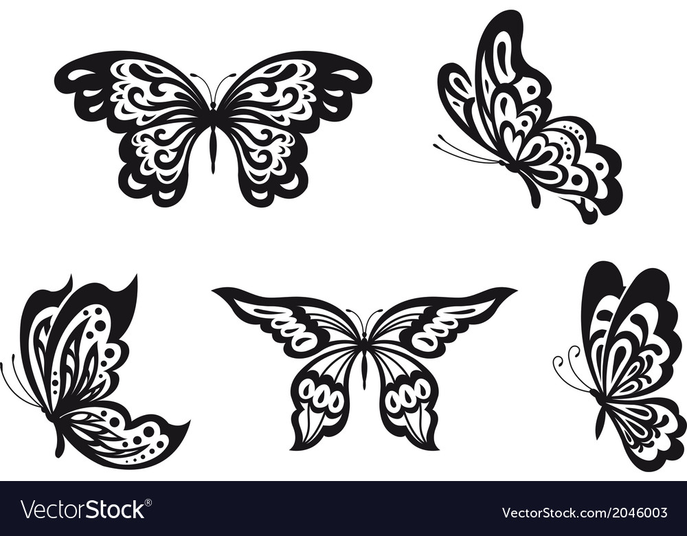 Butterflies set vector | Price: 1 Credit (USD $1)