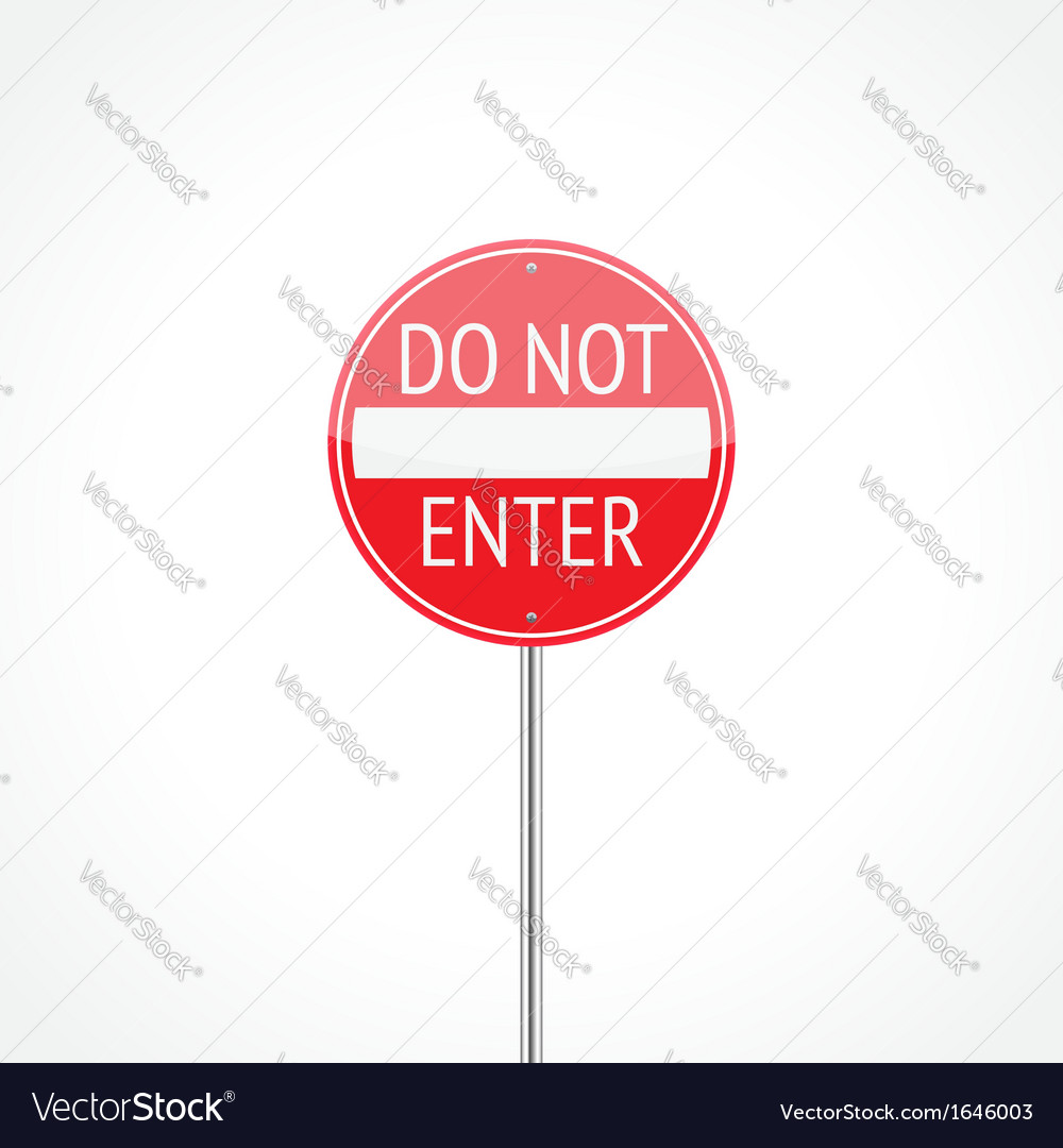 Do not enter traffic sign vector | Price: 1 Credit (USD $1)