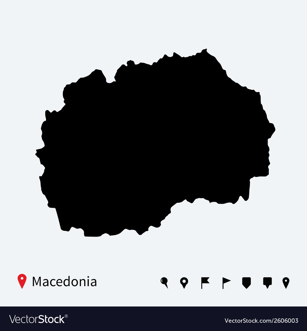 High detailed map of macedonia with navigation vector | Price: 1 Credit (USD $1)