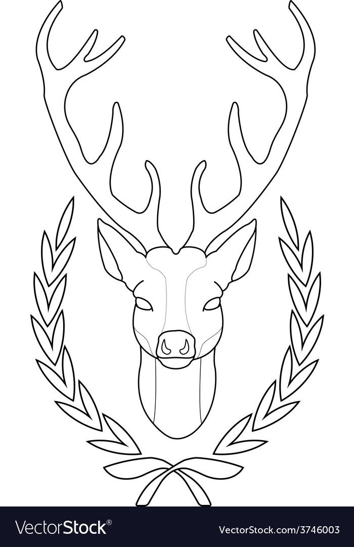 Hunting trophy deer head in laurel wreath contour vector | Price: 1 Credit (USD $1)