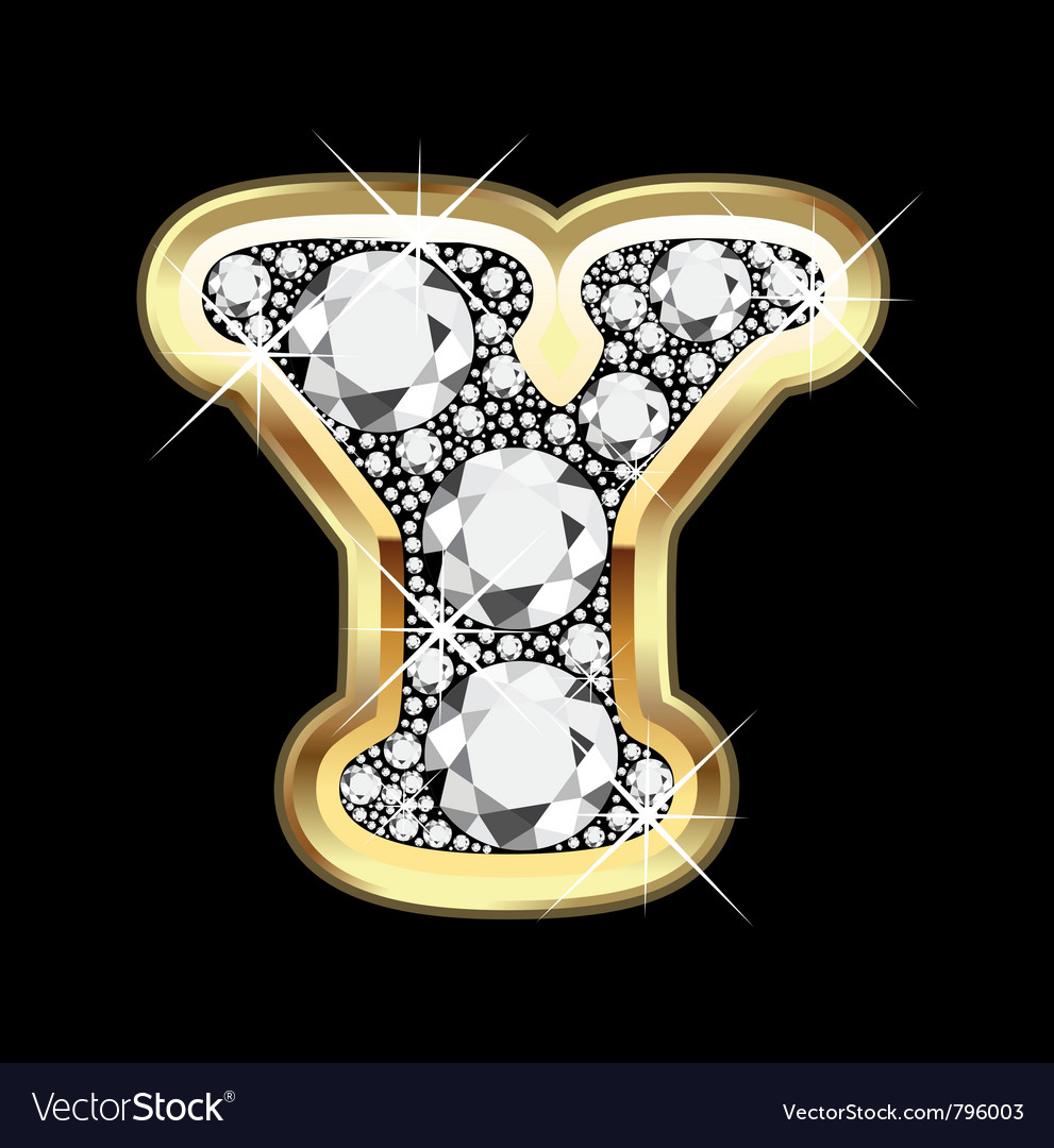 Letter y gold and diamond vector | Price: 1 Credit (USD $1)