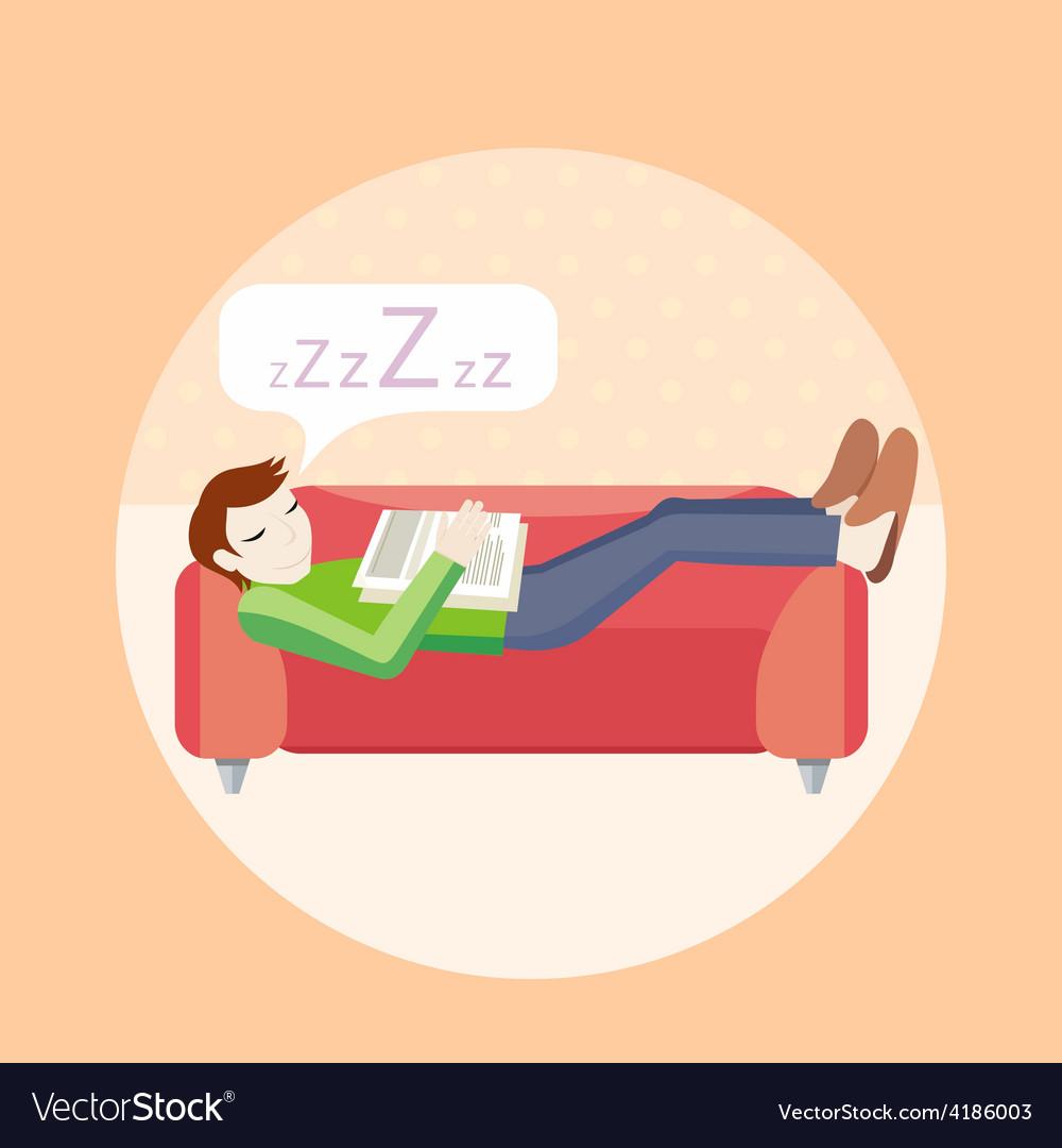 Man sleeping on sofa vector | Price: 1 Credit (USD $1)