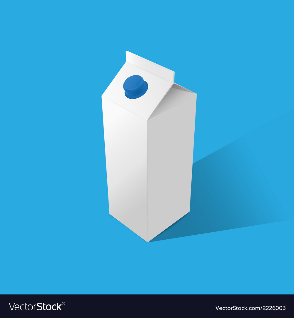 Milk tetrapak template on a blue background vector | Price: 1 Credit (USD $1)
