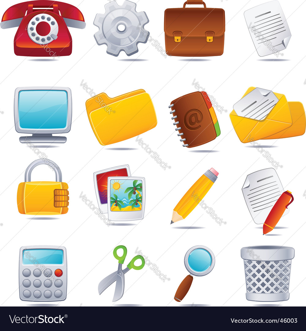 Office icons vector | Price: 3 Credit (USD $3)