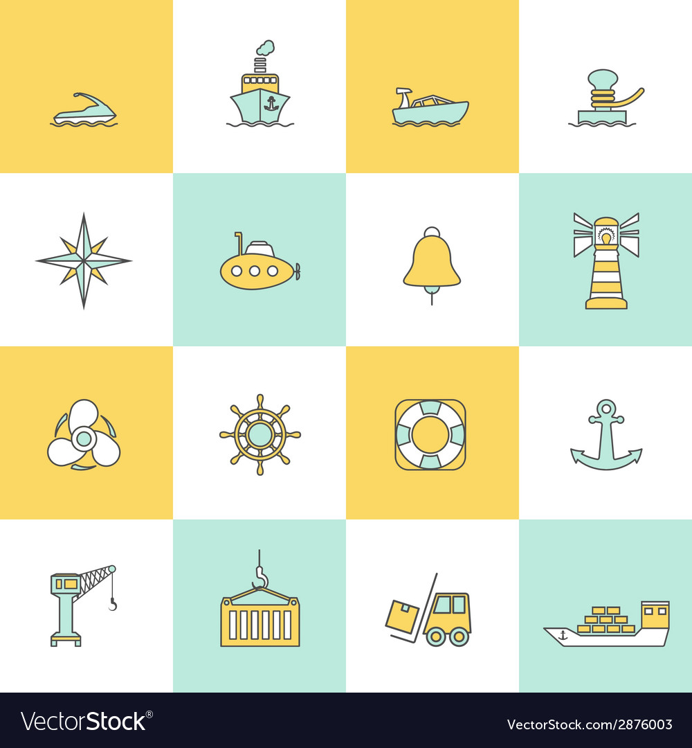 Sea port icons flat line set vector | Price: 1 Credit (USD $1)