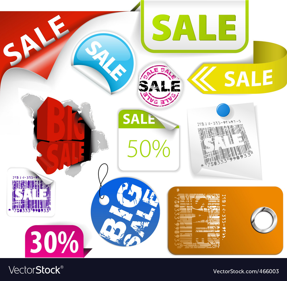 Set of colorful discount elements vector | Price: 1 Credit (USD $1)