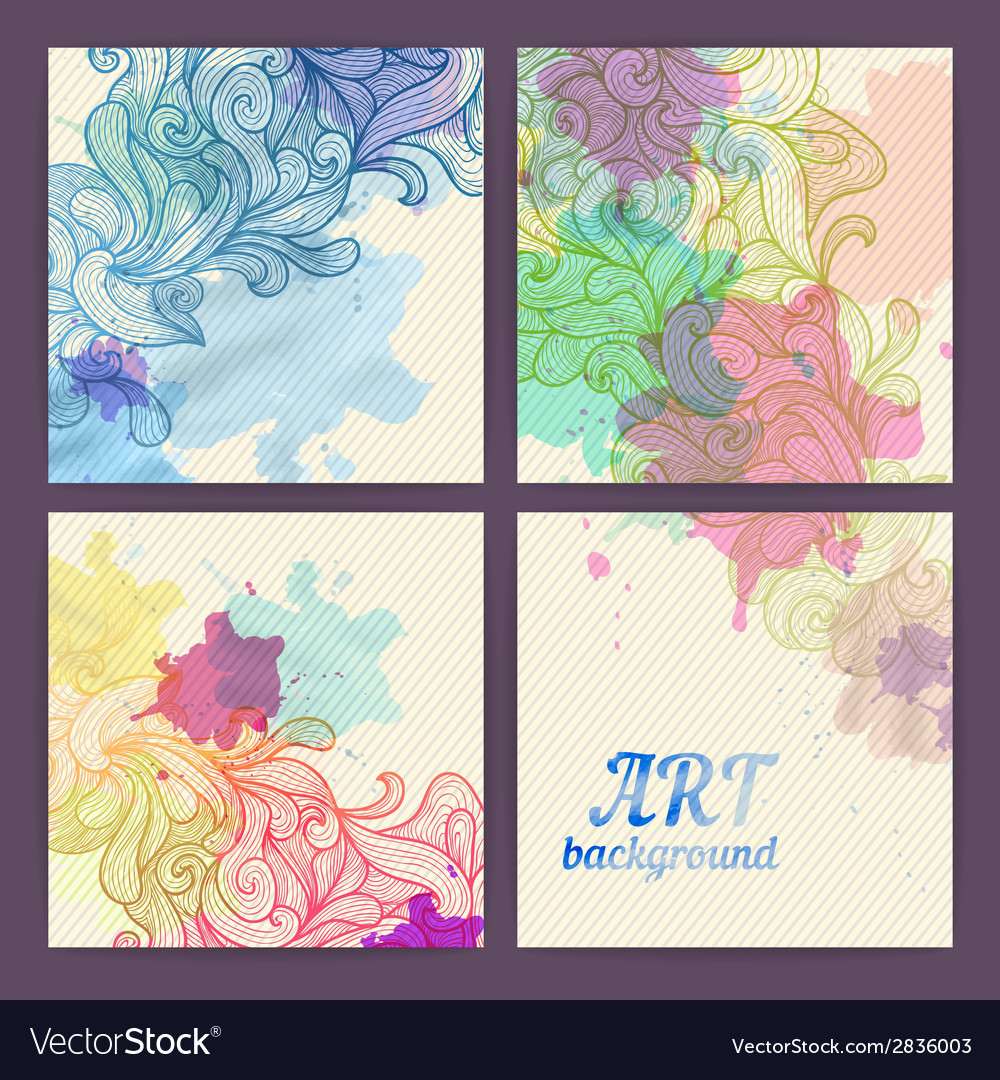 Set of ornamental artistic watercolor banners vector | Price: 1 Credit (USD $1)