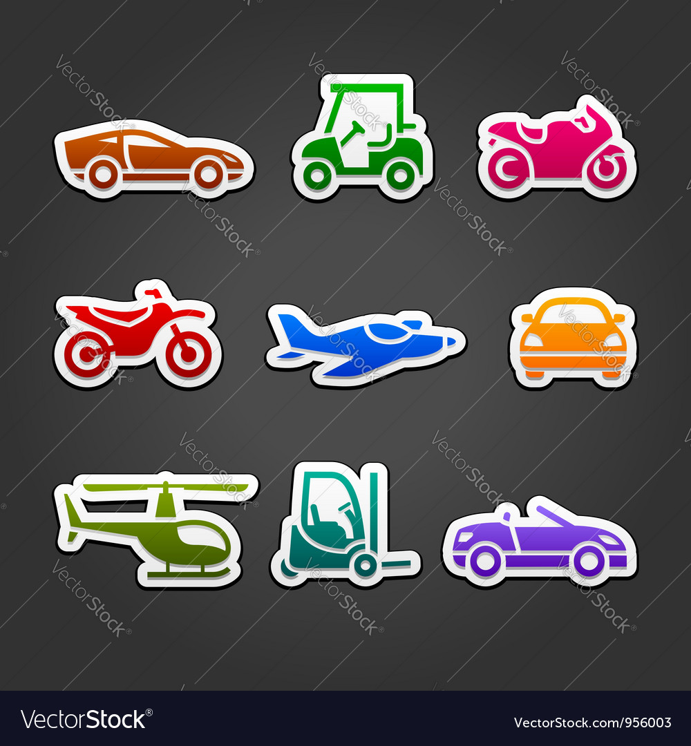Set stickers transport color icons vector   Price: 1 Credit (USD $1)