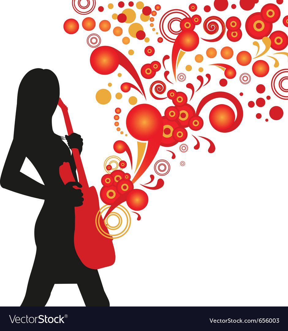 Silhouette girl with guitar vector | Price: 1 Credit (USD $1)