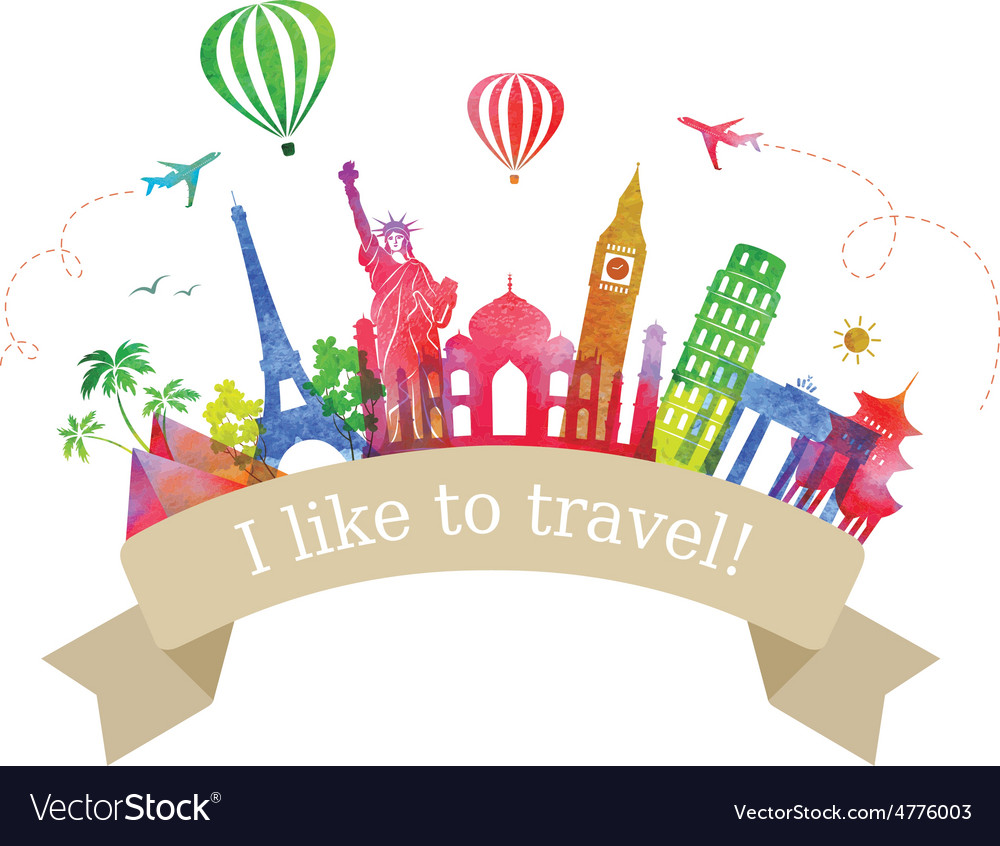 Travel and tourism label vector | Price: 1 Credit (USD $1)