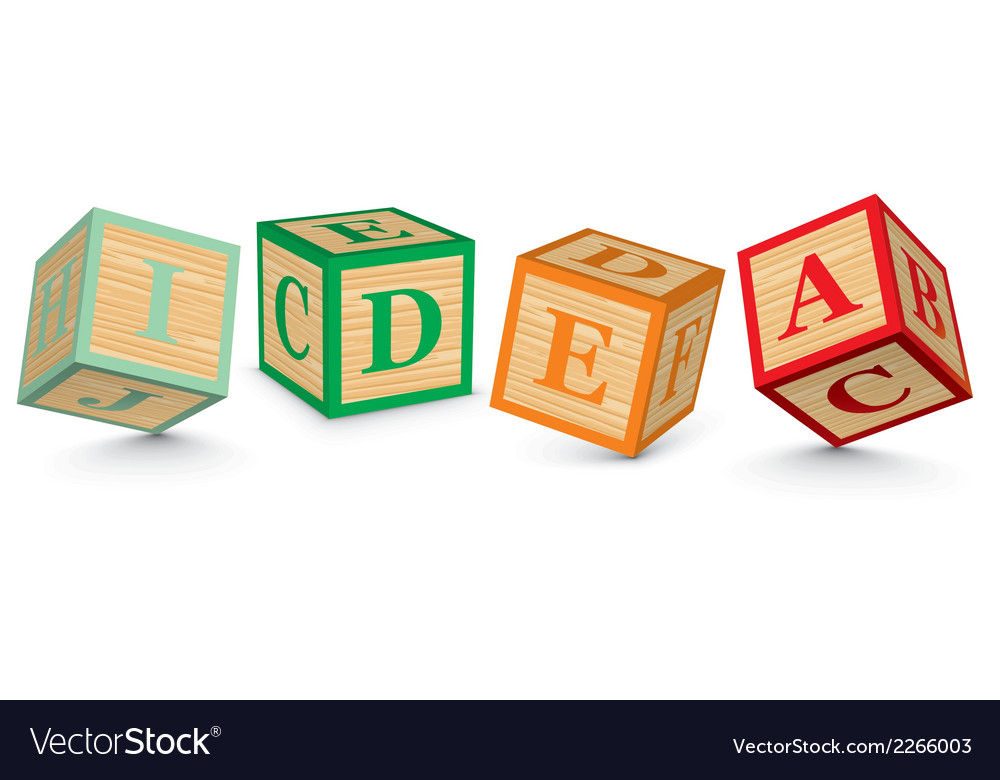 Word idea written with alphabet blocks vector | Price: 1 Credit (USD $1)