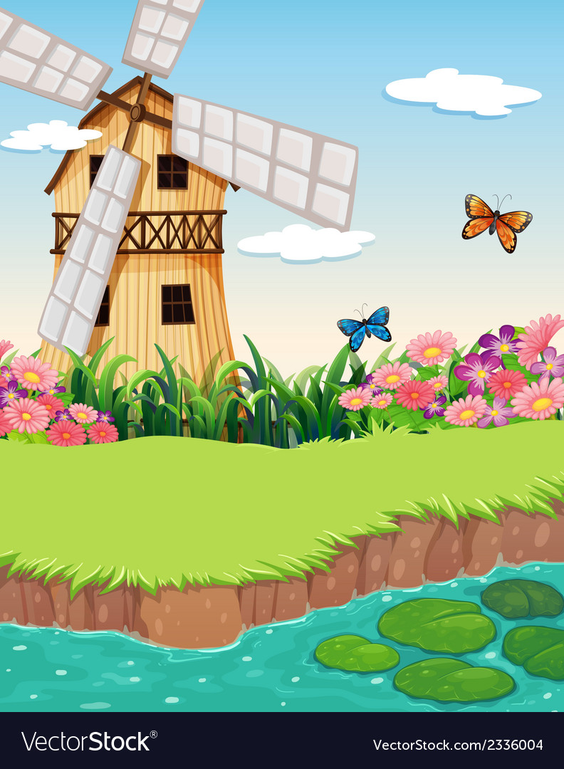 A barnhouse with a windmill near the river vector | Price: 3 Credit (USD $3)
