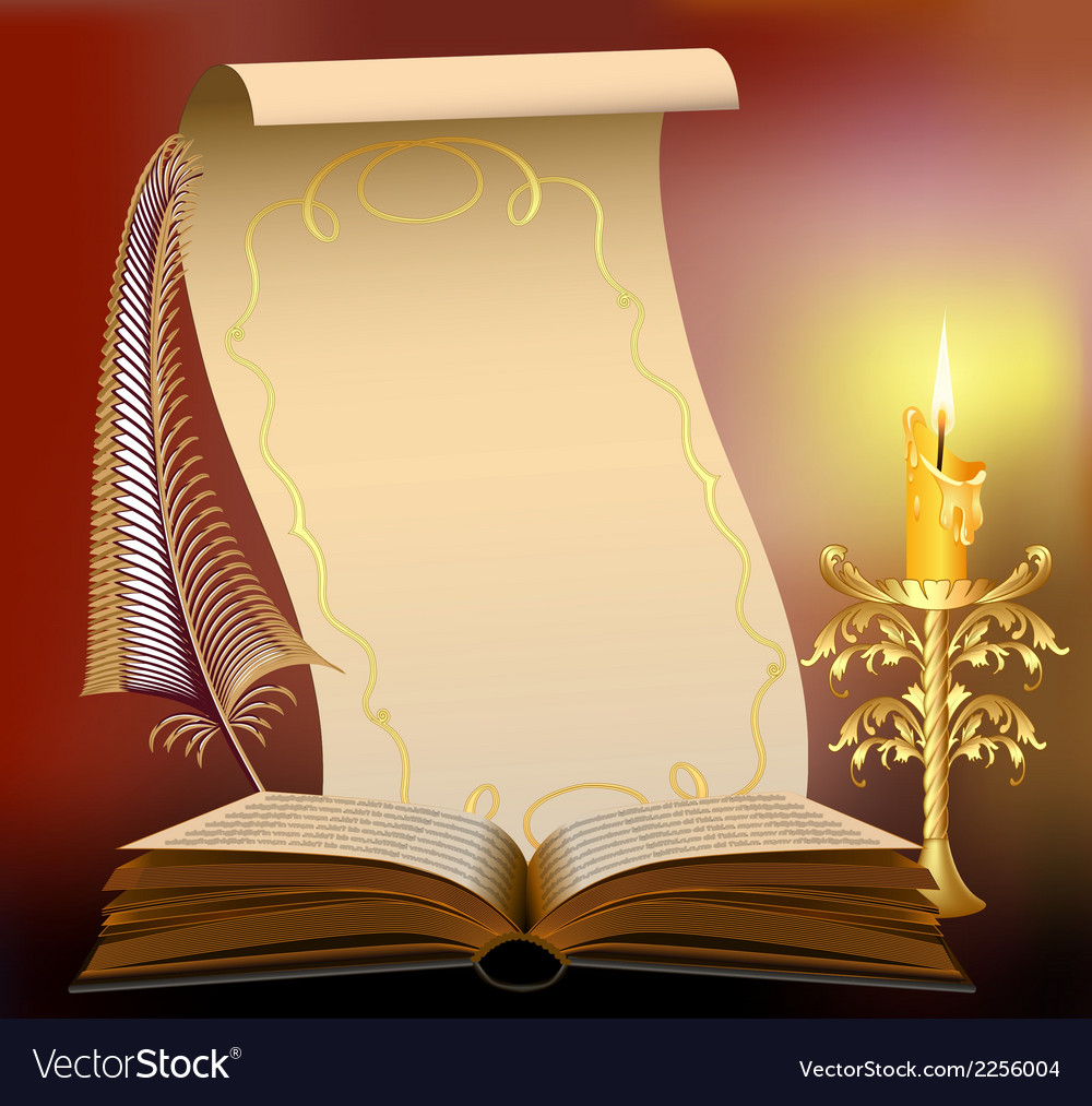 Book with burning candle vector | Price: 1 Credit (USD $1)
