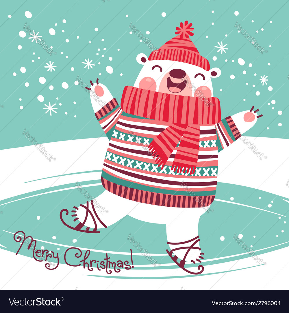 Christmas card with cute polar bear on an ice rink vector | Price: 1 Credit (USD $1)