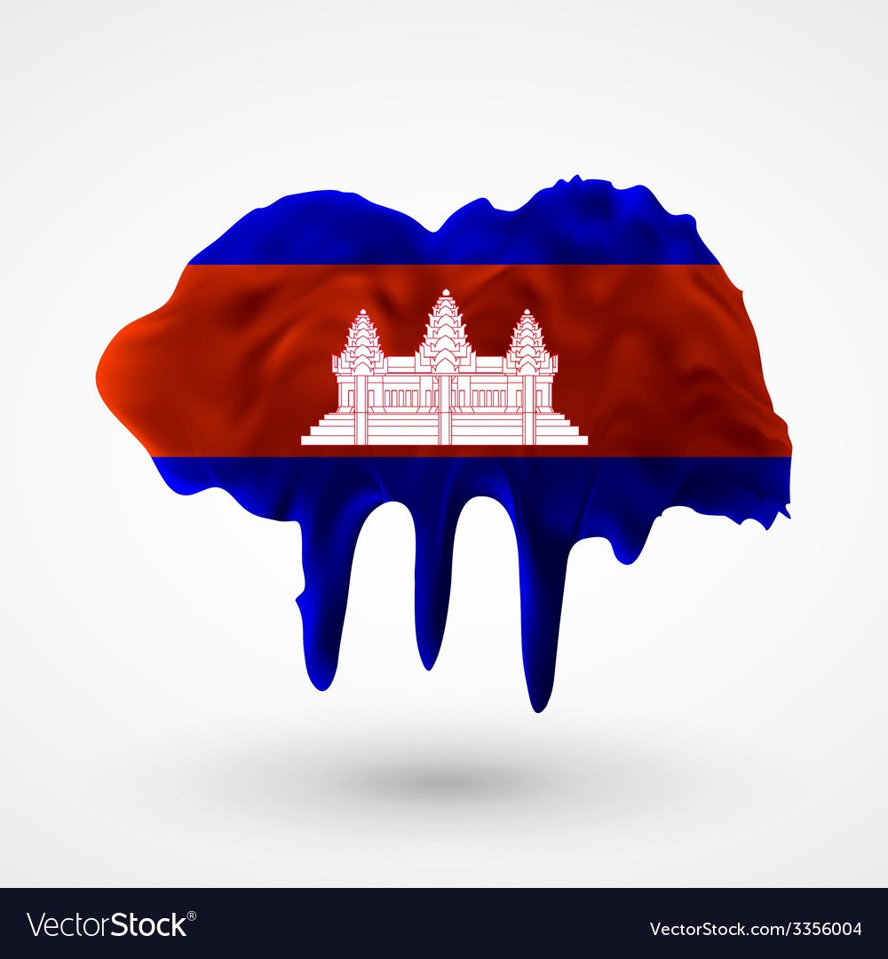 Flag of cambodia painted colors vector | Price: 3 Credit (USD $3)