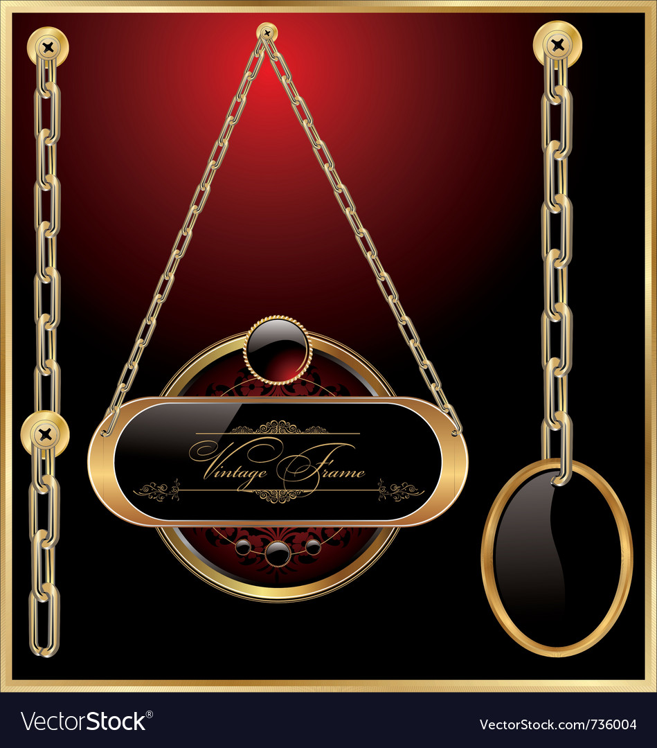 Golden medallions linked with golden chain vector | Price: 1 Credit (USD $1)