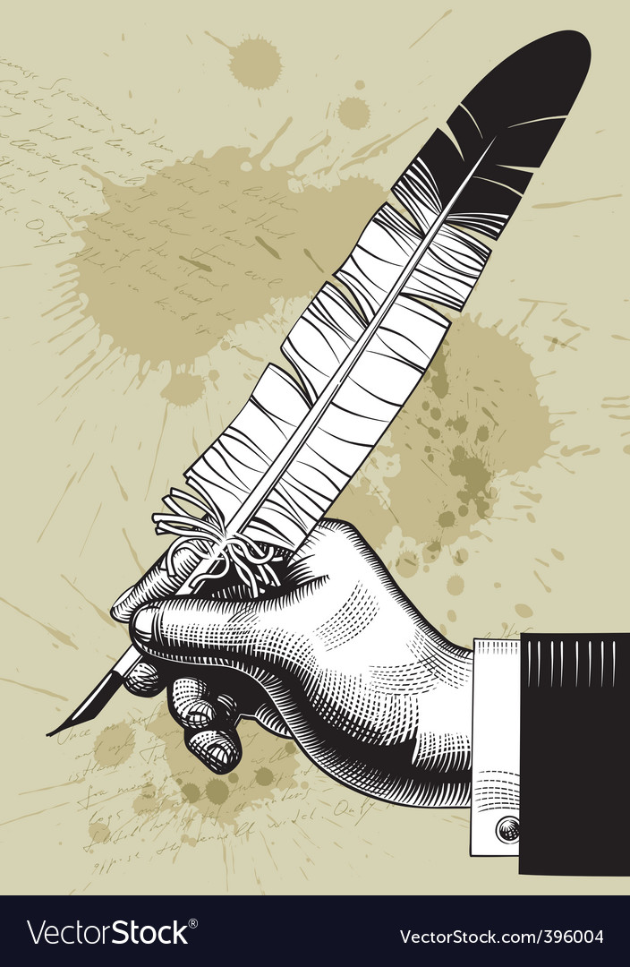 Hand with feather vector | Price: 1 Credit (USD $1)