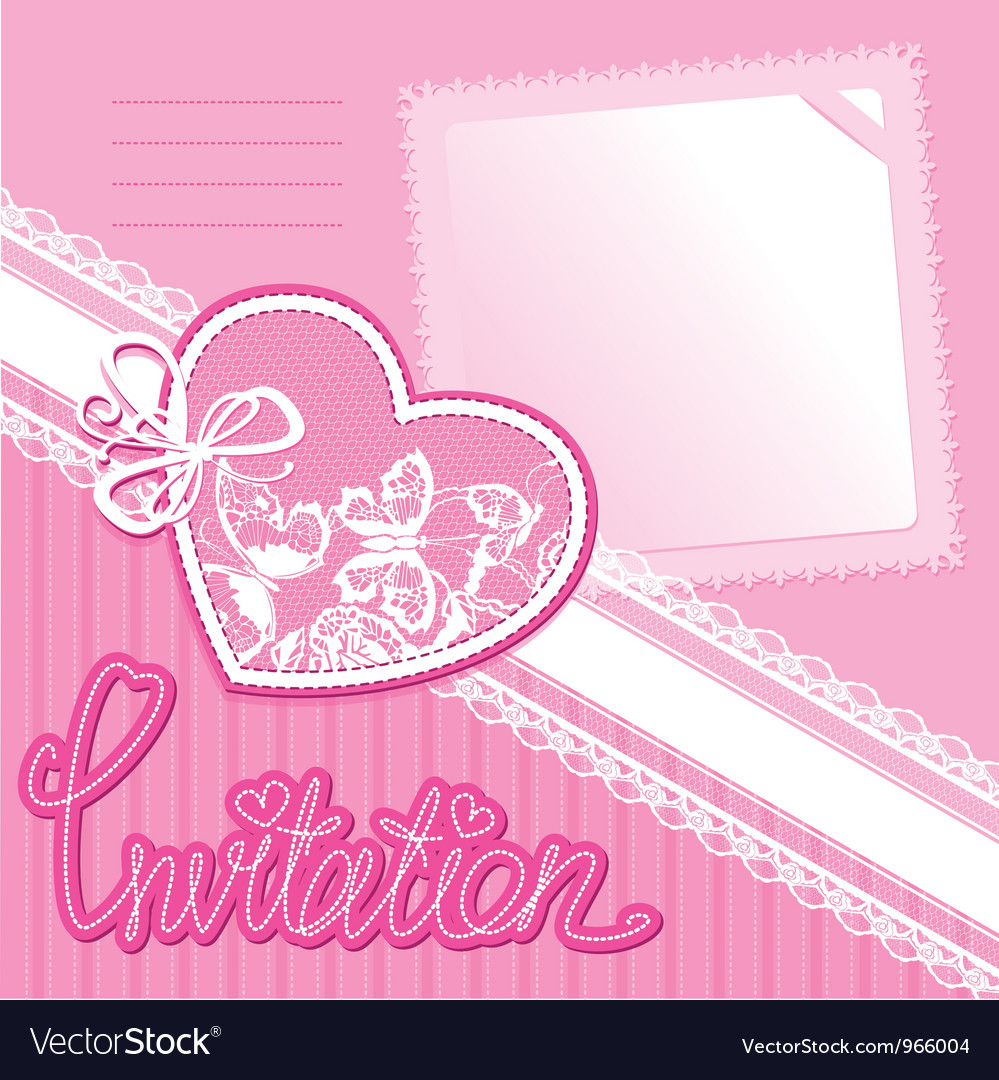 Heart and piece of paper on a pink background vector | Price: 1 Credit (USD $1)