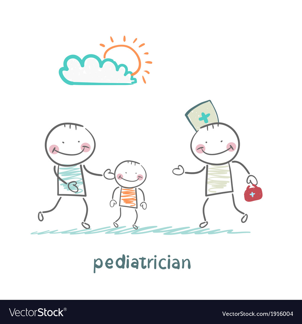 Pediatrician takes dad with a sick child vector | Price: 1 Credit (USD $1)