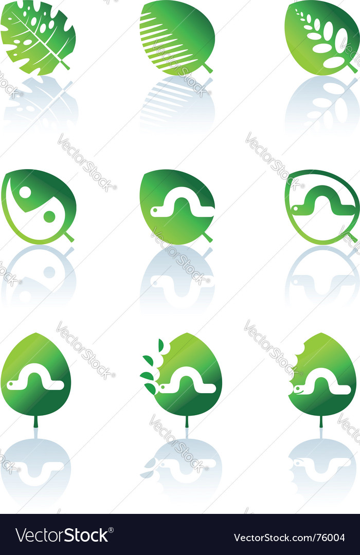 Set of leaves icon vector | Price: 1 Credit (USD $1)