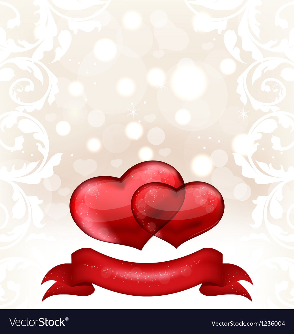 Valentines day or wedding invitation with hearts vector   Price: 1 Credit (USD $1)