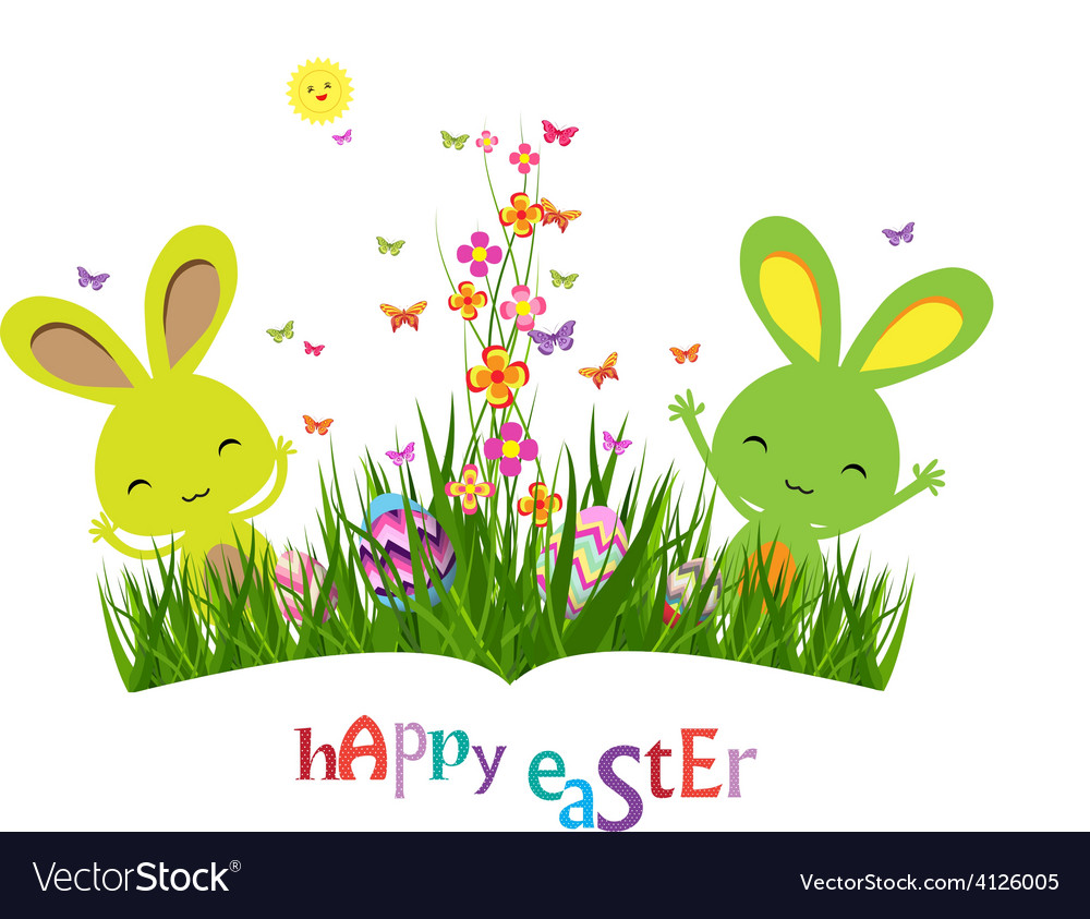 Colorful spring meadow eggs and easter bunny vector | Price: 1 Credit (USD $1)