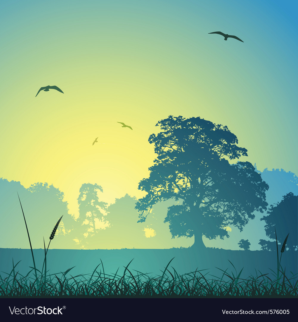 Country meadow landscape vector | Price: 1 Credit (USD $1)
