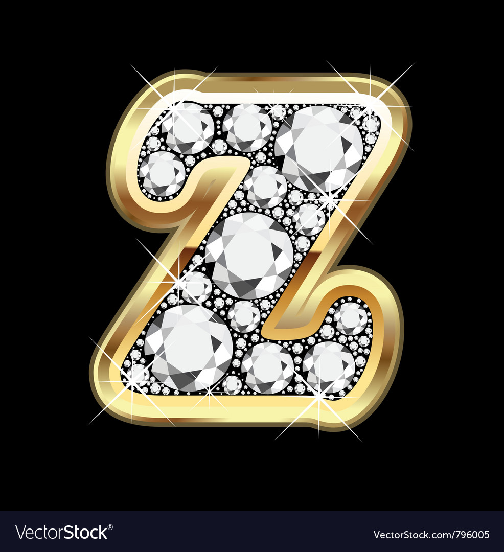 Letter z gold and diamond bling bling vector | Price: 1 Credit (USD $1)