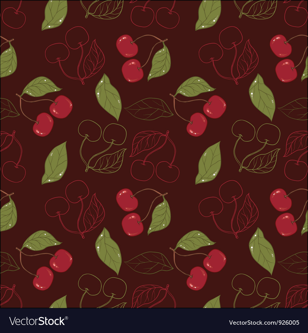 Ornate cherry pattern isolated on a broun vector | Price: 1 Credit (USD $1)