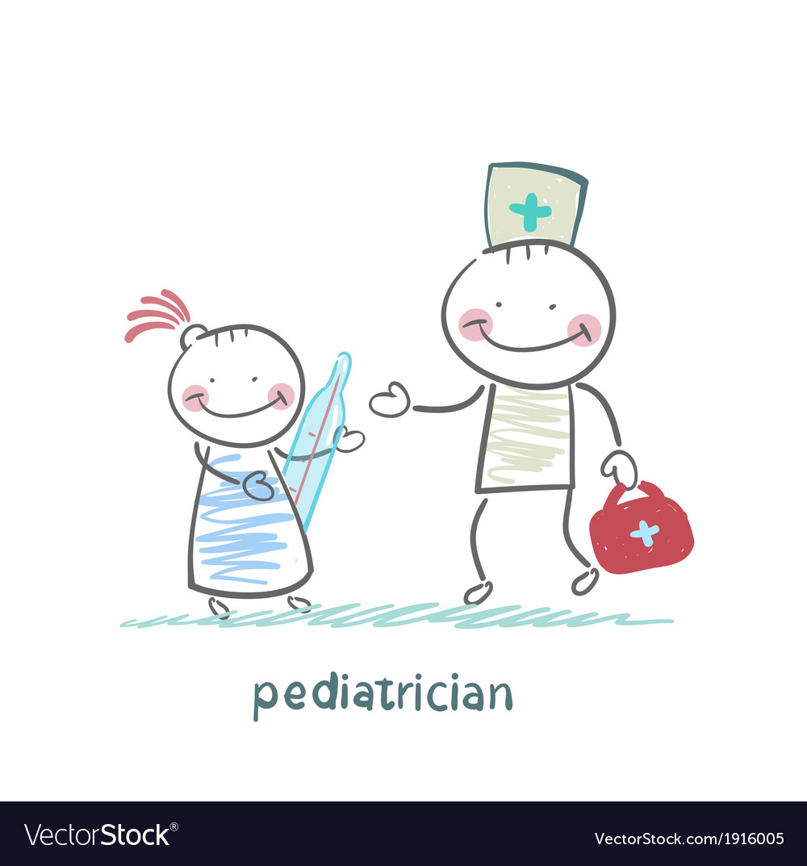 Pediatrician checks the childs temperature vector | Price: 1 Credit (USD $1)