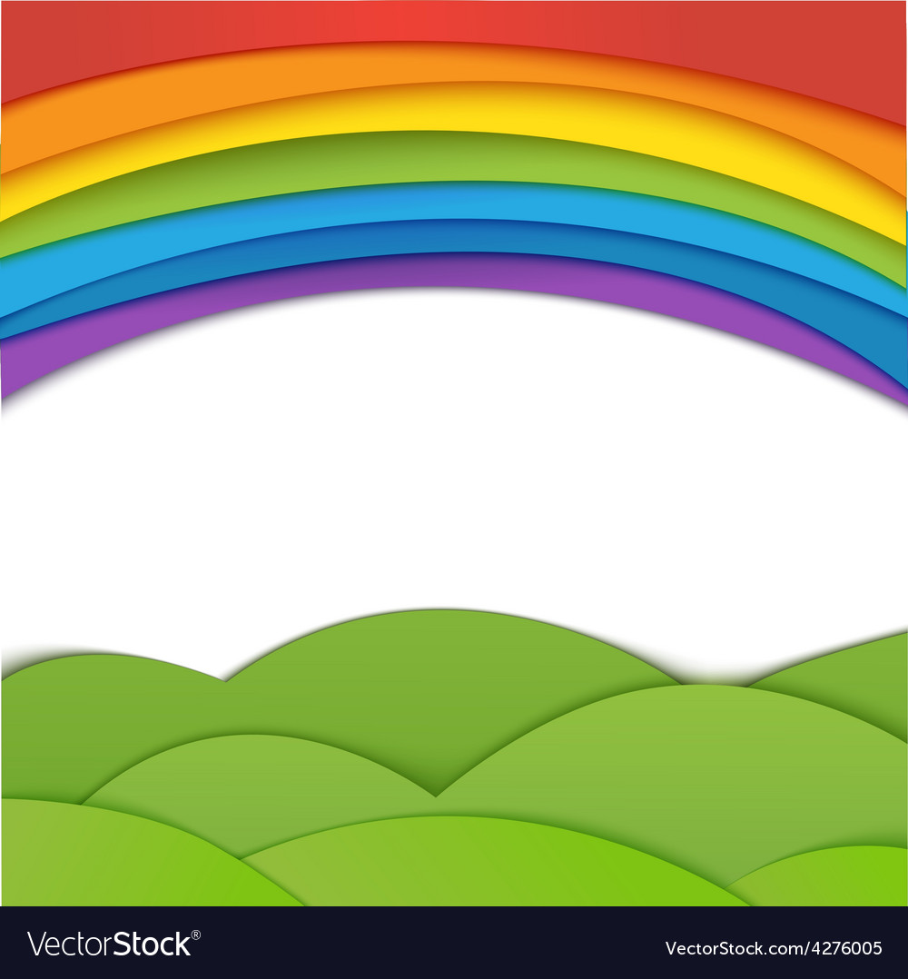 Rainbow background with green field paper vector | Price: 1 Credit (USD $1)