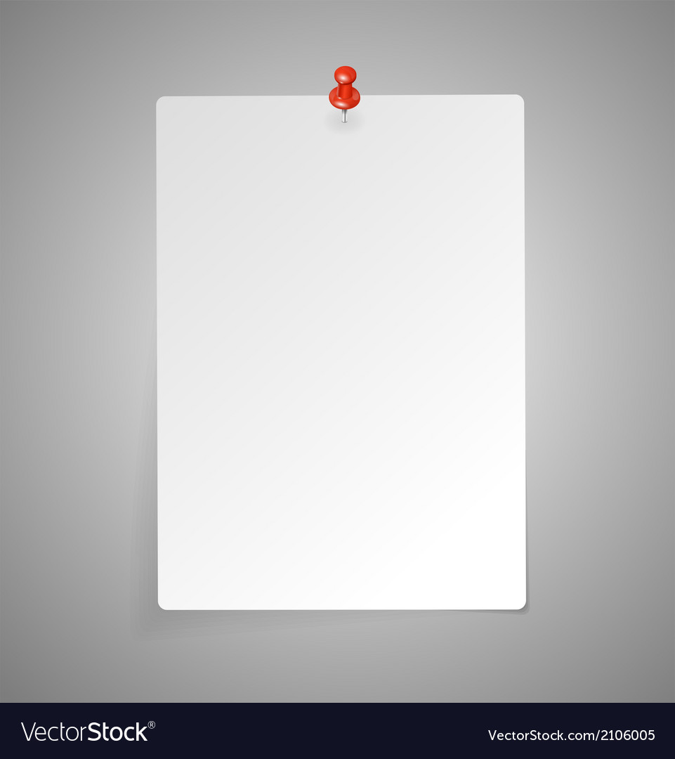 Sheet of paper with red push pin vector | Price: 1 Credit (USD $1)