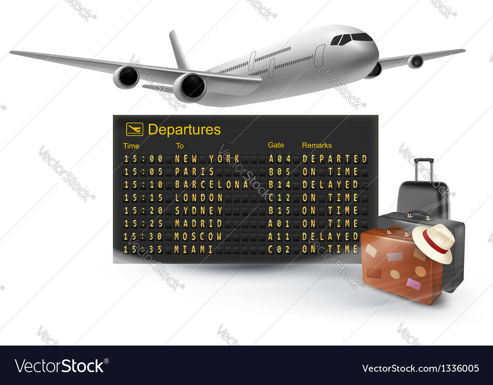 Travel background with mechanical departures board vector | Price: 1 Credit (USD $1)