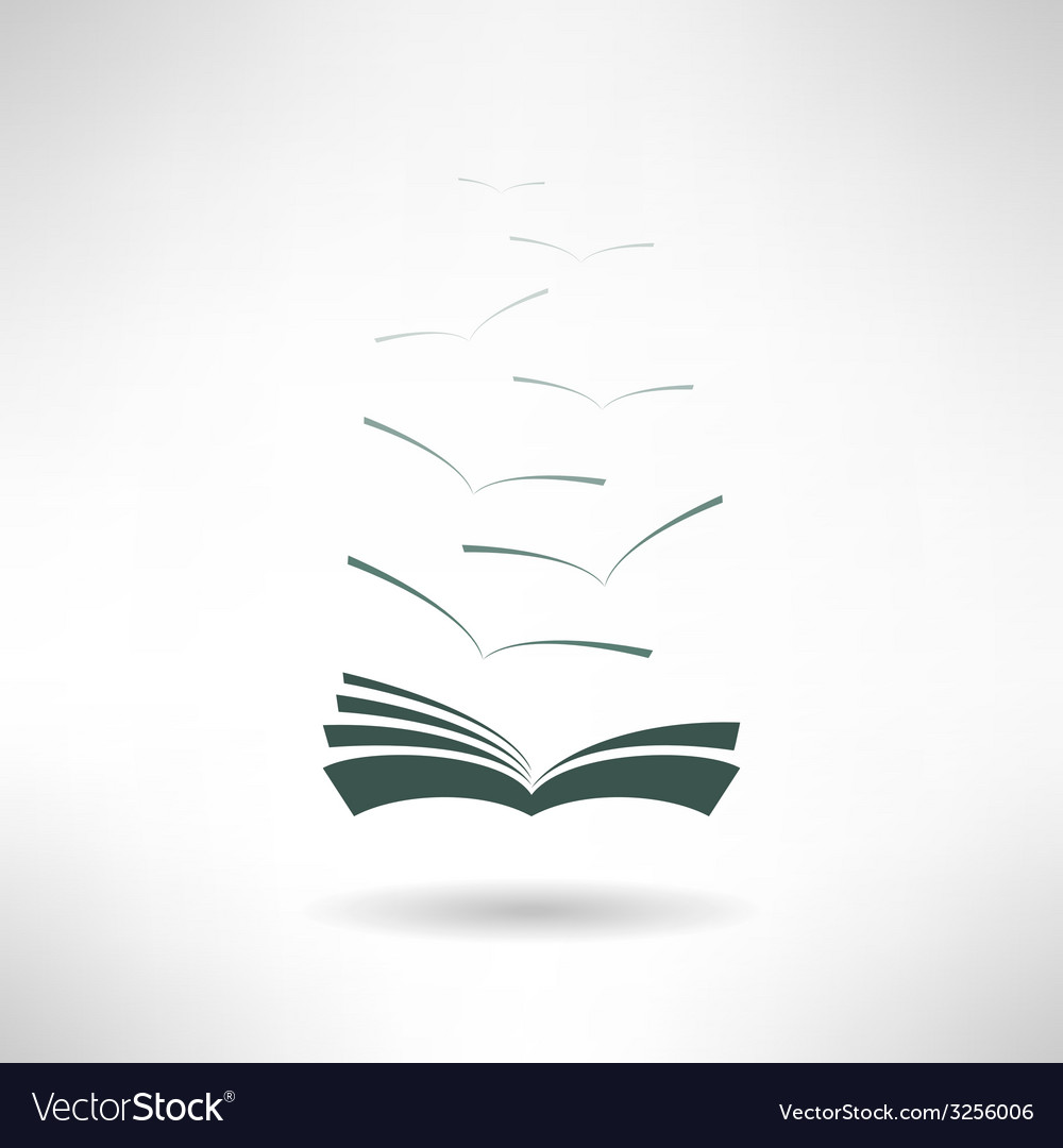 Book icon with seagulls made in modern flat design vector | Price: 1 Credit (USD $1)