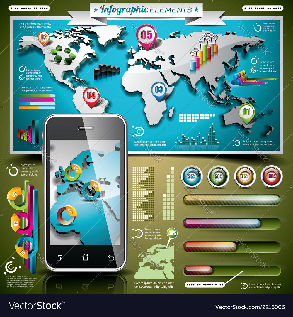 Design set of infographic elements vector | Price: 3 Credit (USD $3)