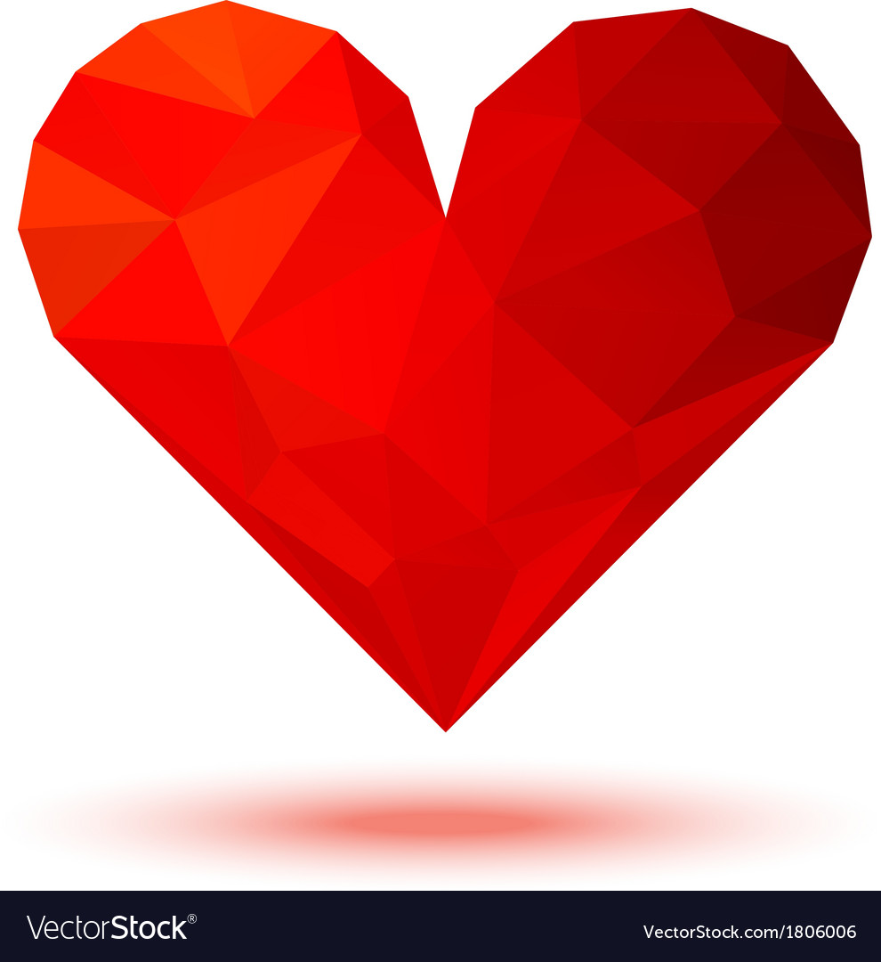 Geometric red 3d valentine heart vector | Price: 1 Credit (USD $1)