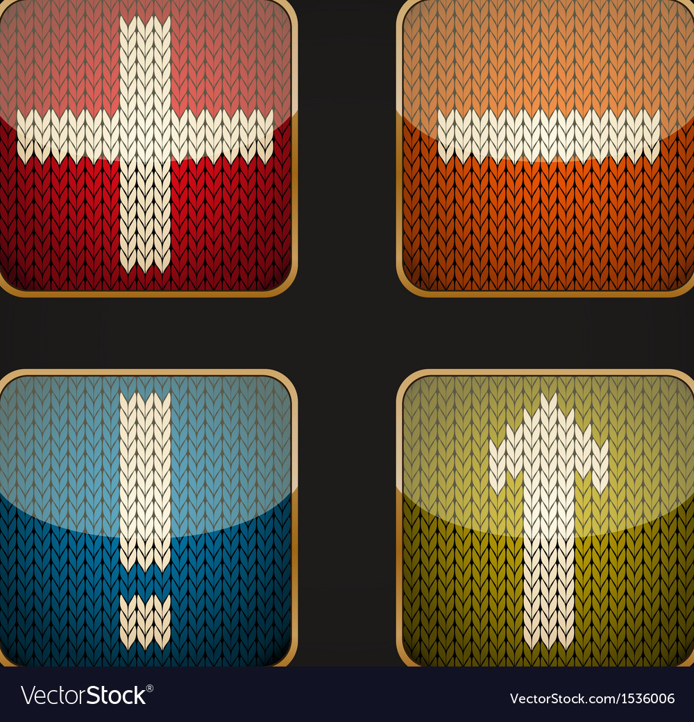 Glossy square icon set with knitted pictograms vector   Price: 1 Credit (USD $1)