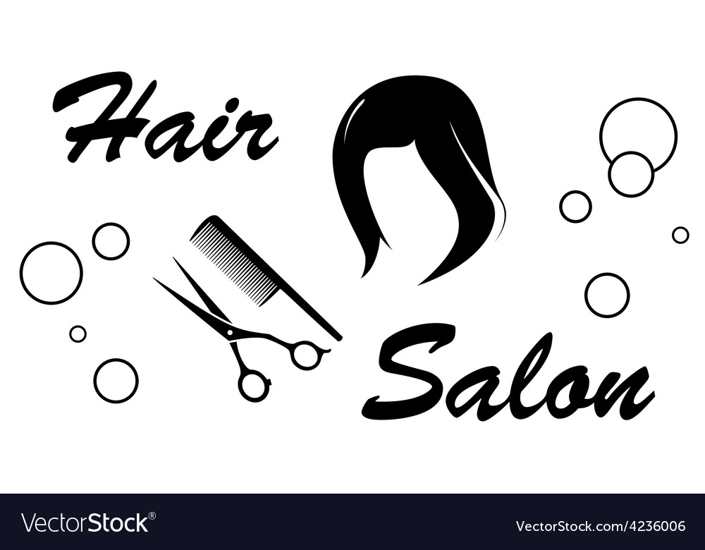 Hair salon sign on white background vector | Price: 1 Credit (USD $1)
