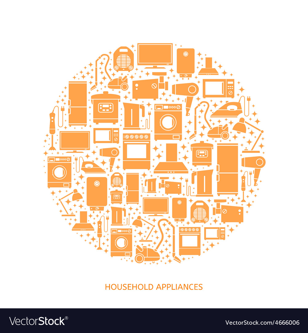 Household appliances flat icons vector | Price: 1 Credit (USD $1)