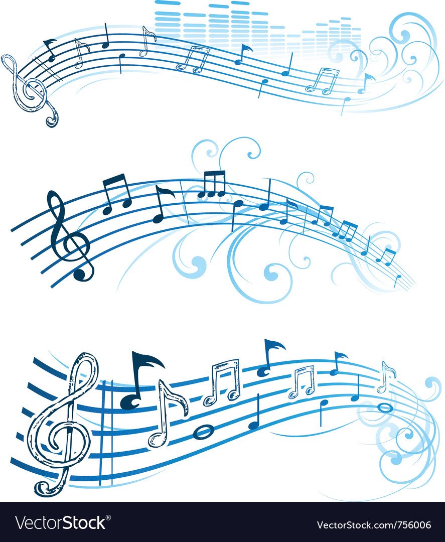 Music notes on staves vector | Price: 1 Credit (USD $1)