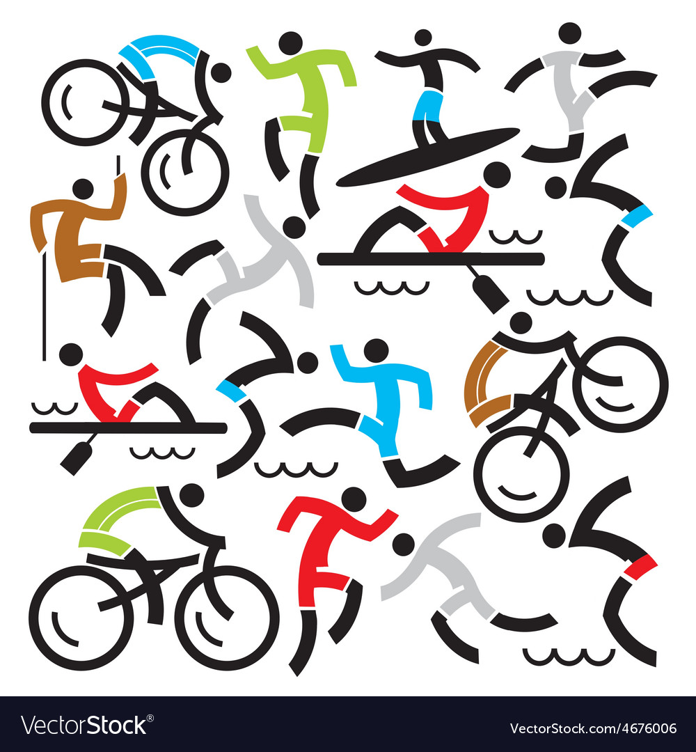 Outdoor sports icons background vector | Price: 1 Credit (USD $1)