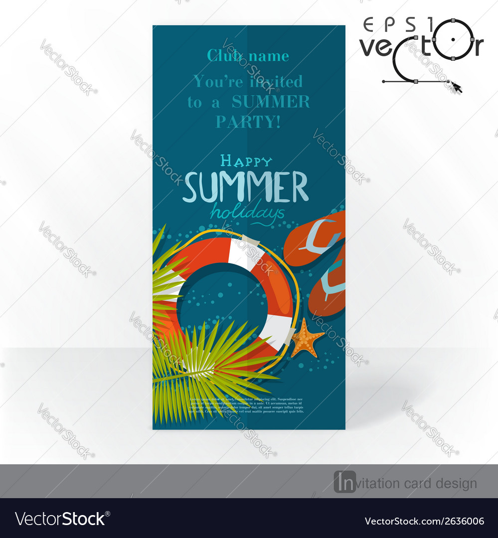 Party invitation card design template vector | Price: 1 Credit (USD $1)