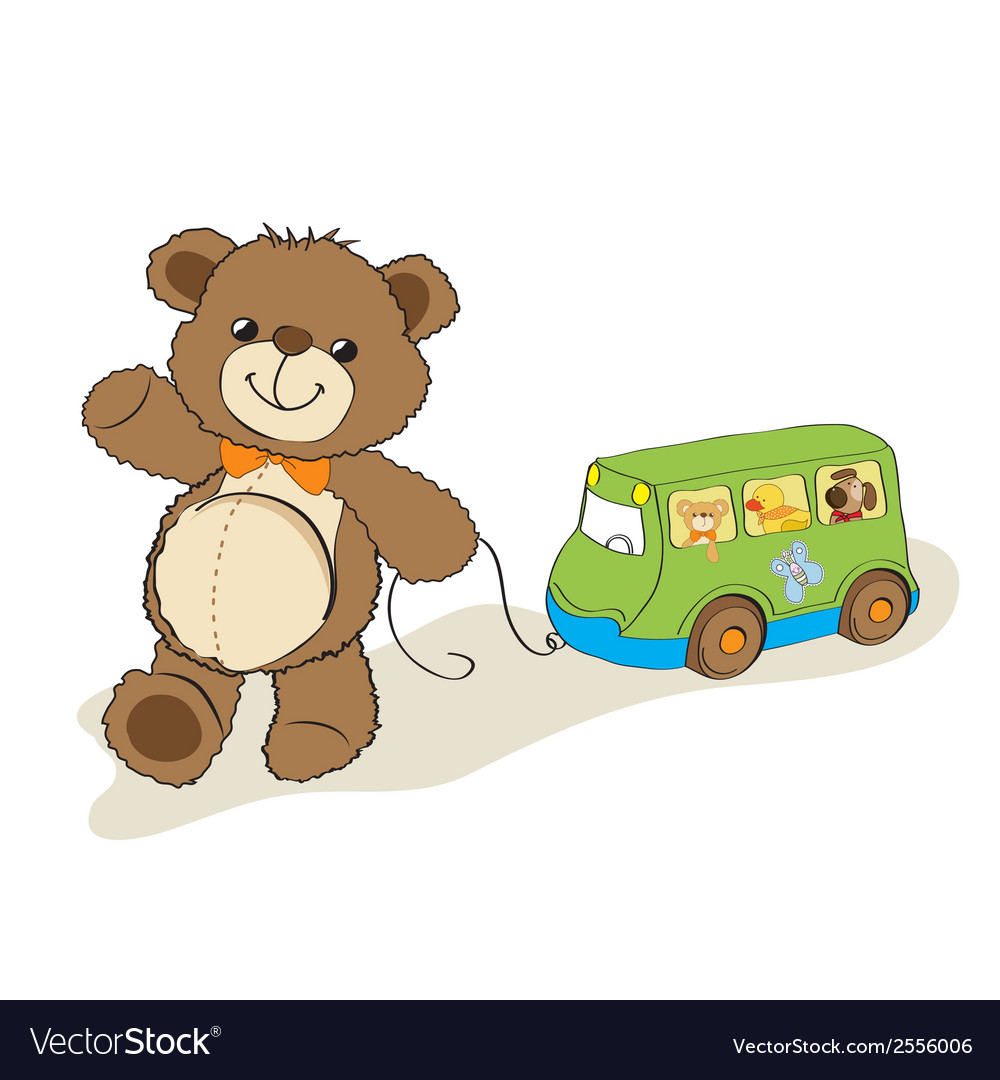 Teddy bear toy pulling a bus vector | Price: 1 Credit (USD $1)