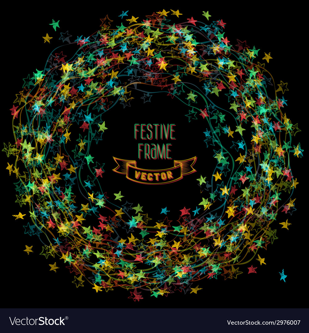 Colourful frame of christmas lights vector   Price: 1 Credit (USD $1)