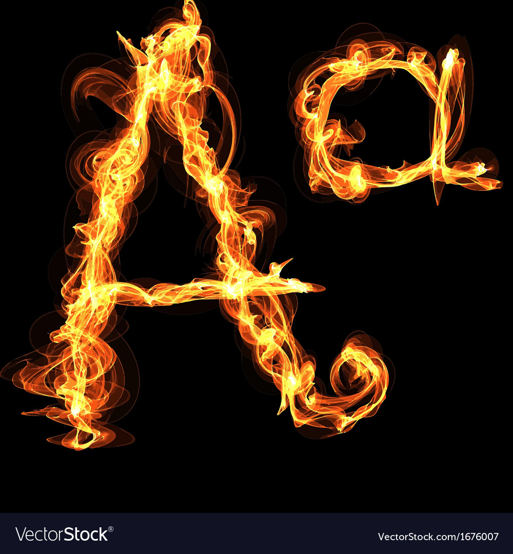 Fire alphabet letter a vector | Price: 1 Credit (USD $1)